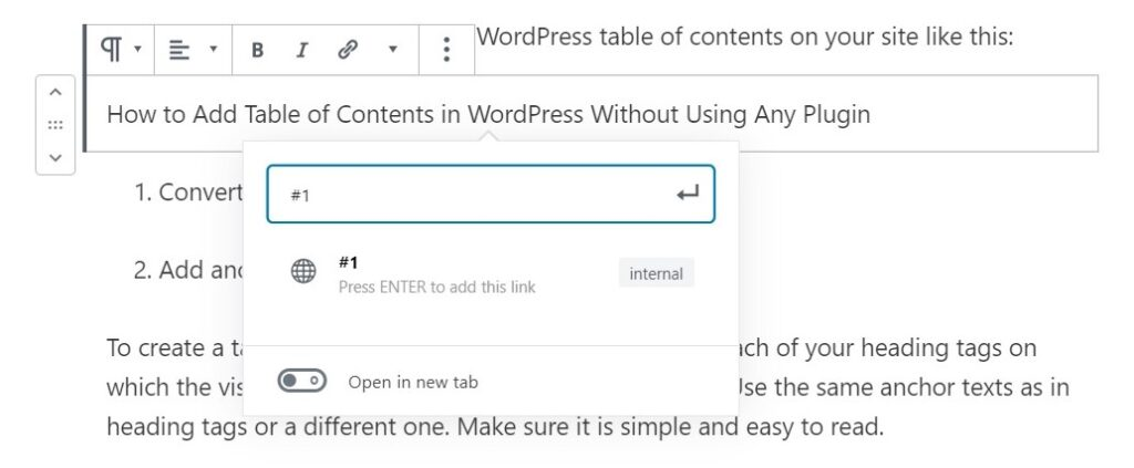 Table Of Contents in wordpress Without Plugin