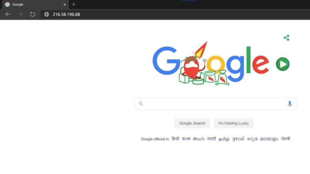 ip address google website