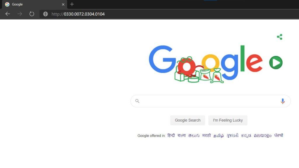 google website in Octal Format