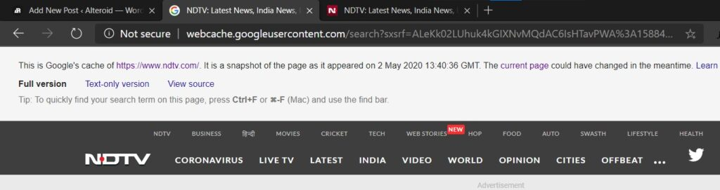 ndtv cached page