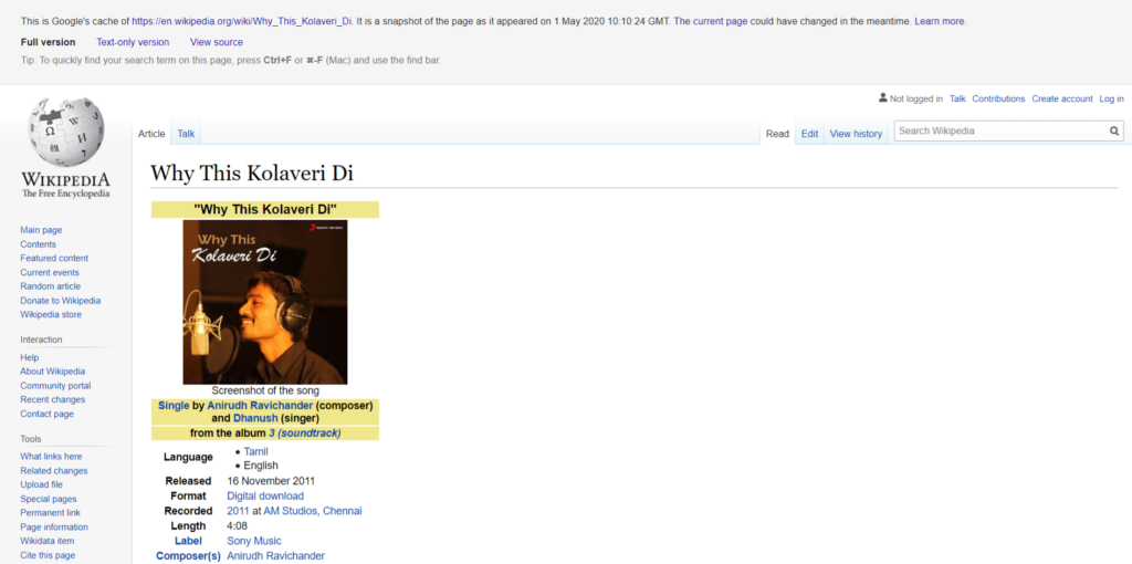 Why This Kolaveri Di Wikipedia Cached Pages