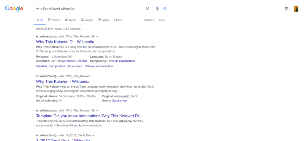 Why This Kolaveri Di Wikipedia Google Cached Pages