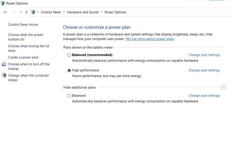 power options settings
