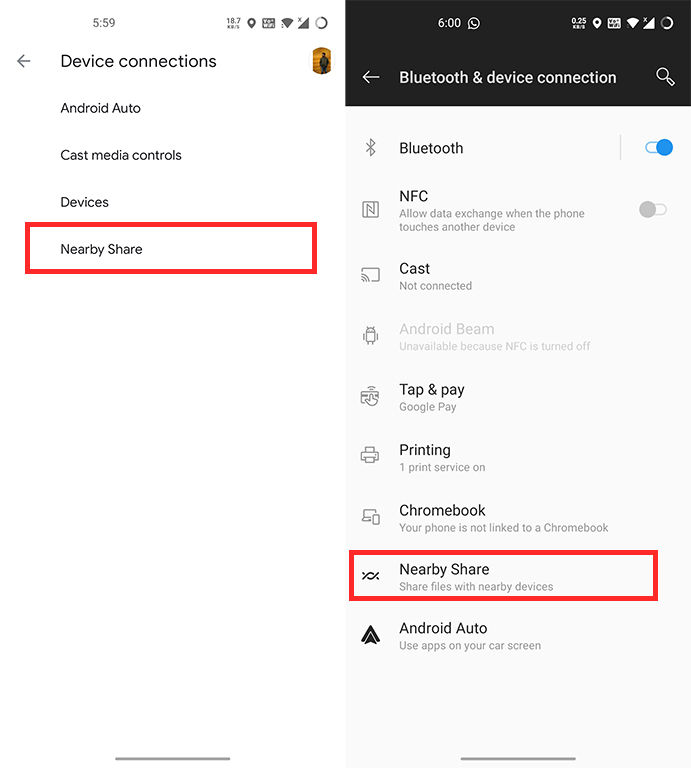 nearby share device connections