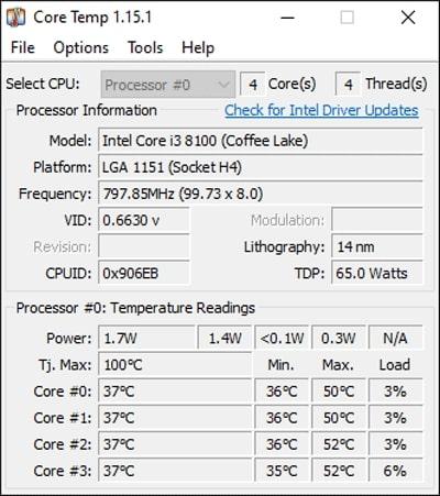 check processor temperature using Core Temp