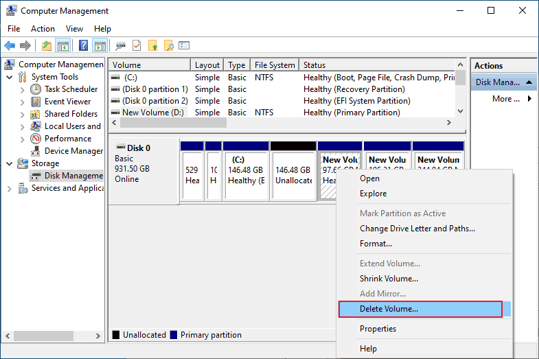 reduce C drive space in windows in computer management