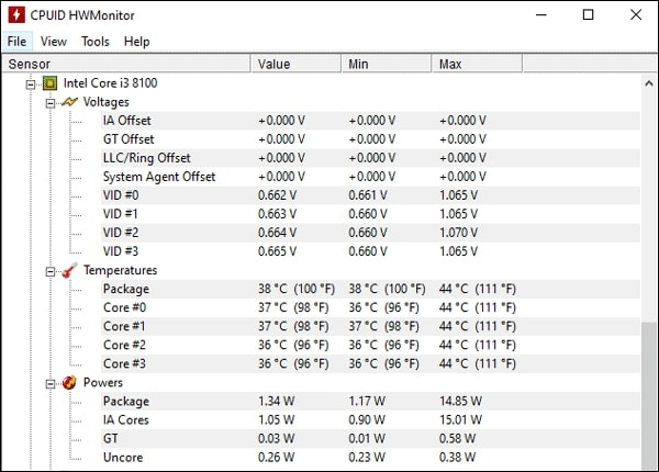 check processor temperature using HWMonitor