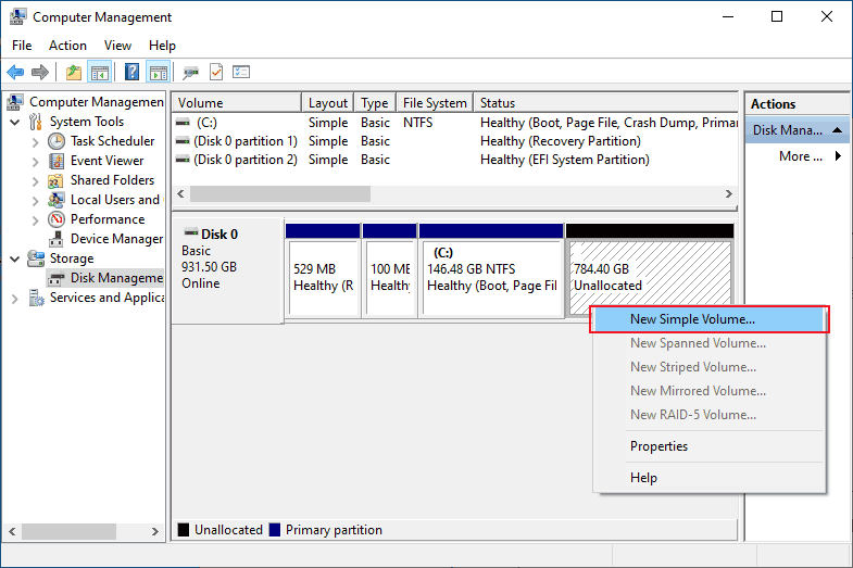 Disk Volumes to reduce space in C drive in windows