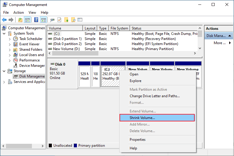 disk management option to reduce C drive space